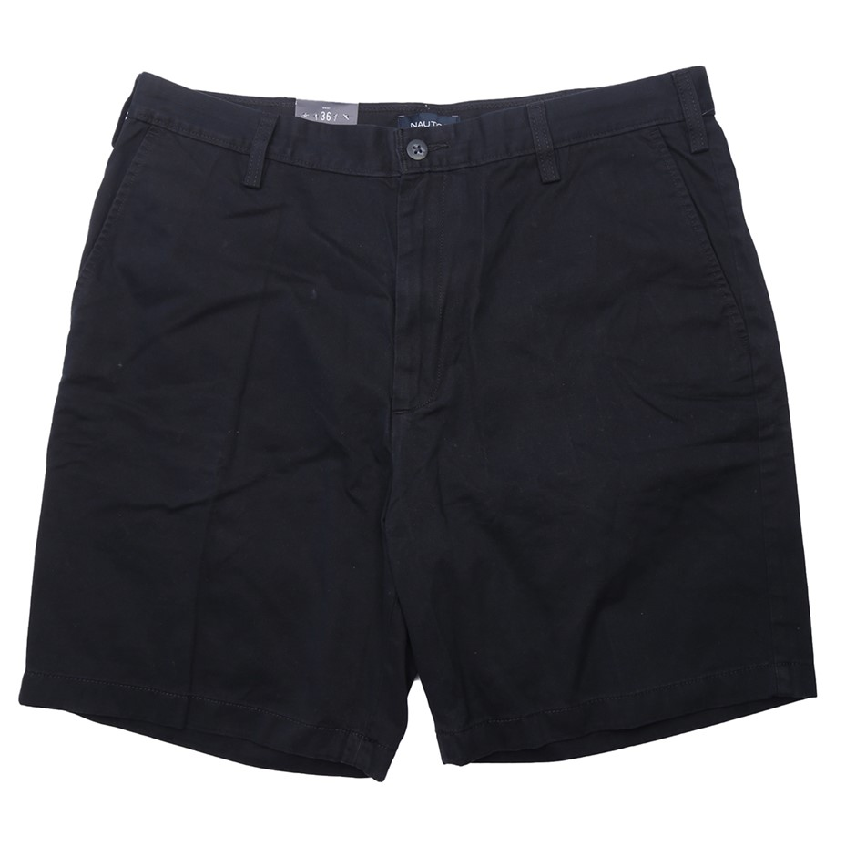NAUTICA Men`s Chino Shorts, Size: 36, 100% Cotton, Navy. Buyers Note - Disc