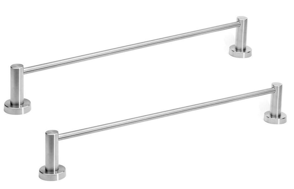 2 x Vspeed 600mm Brushed Stainless Steel Single Towel Rails