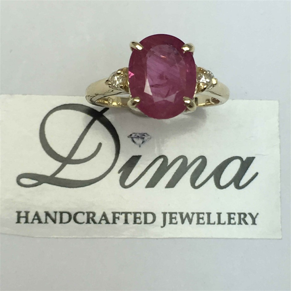 9ct Yellow Gold, 3.61ct Ruby and Diamond Ring