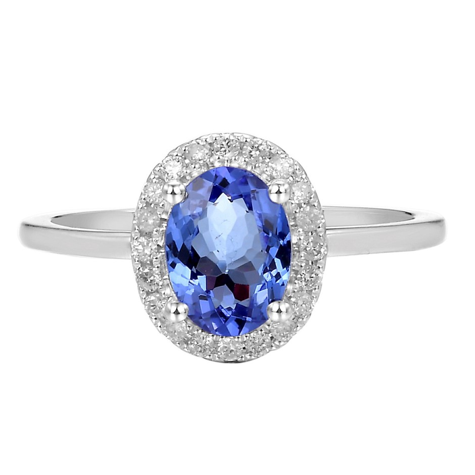 9ct White Gold, 1.33ct Tanzanite and Diamond Ring
