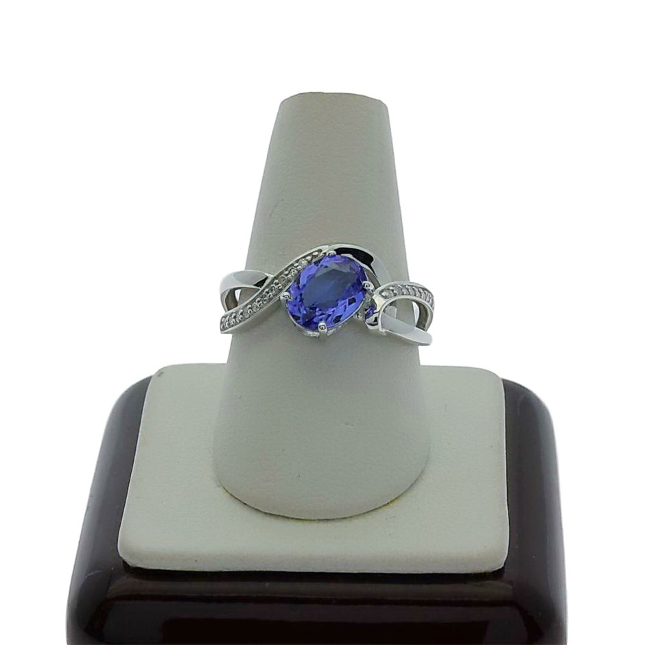 9ct White Gold, 1.20ct Tanzanite and Diamond Ring