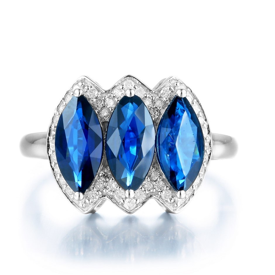9ct White Gold, 3.20ct Blue Sapphire and Diamond Ring