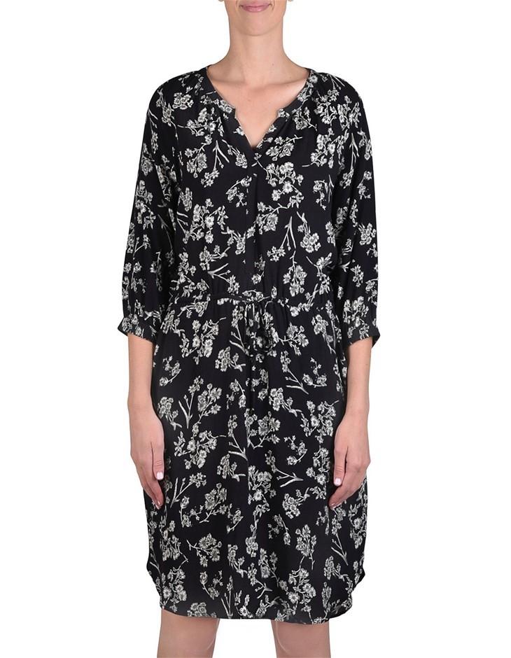JUMP Antique Floral Tie Waist Dress. Size 12, Colour: Black. 100% Viscose C