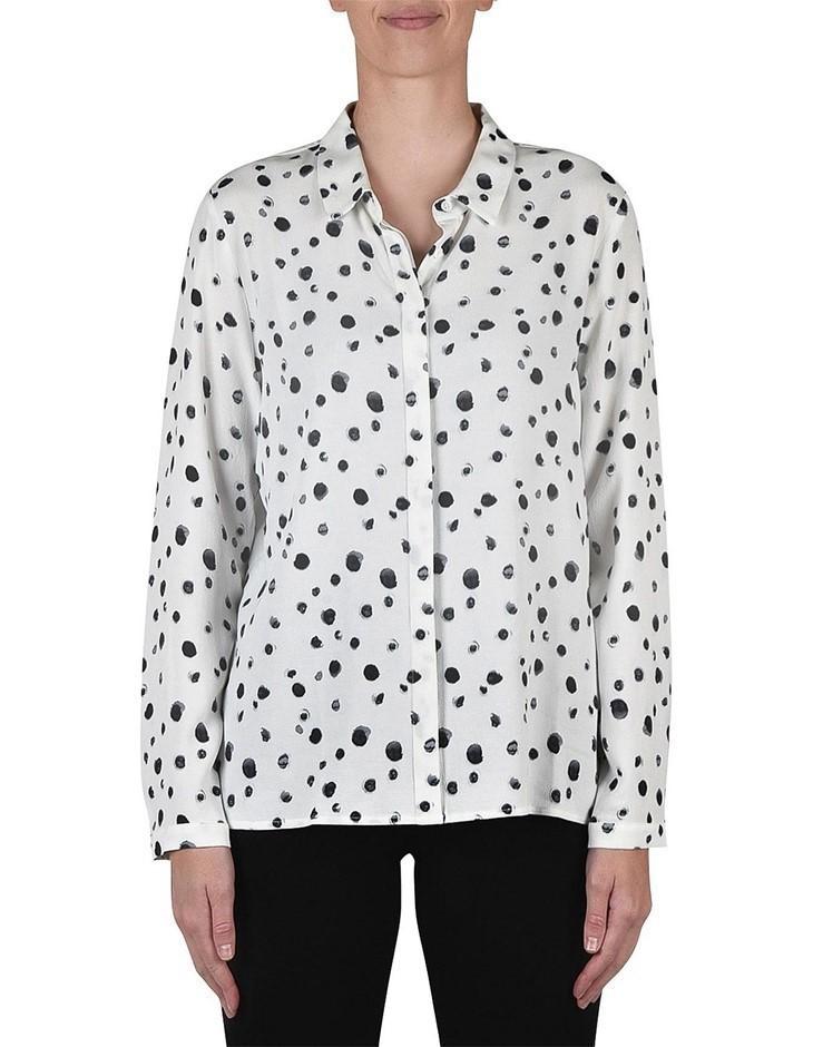 JUMP Long Sleeve Spot Abstract Shirt. Size 12, Colour: Ivory/ Black. 100% V