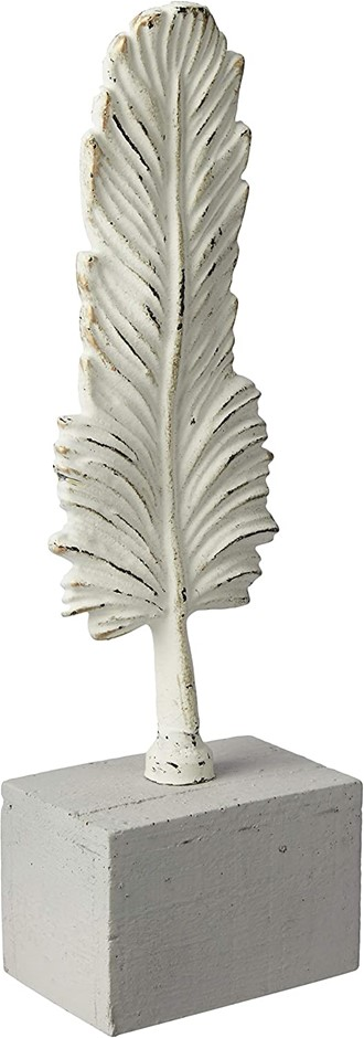 DARLIN Cast Iron Feather on Stand Table Décor (S), Hand cast and painted. (