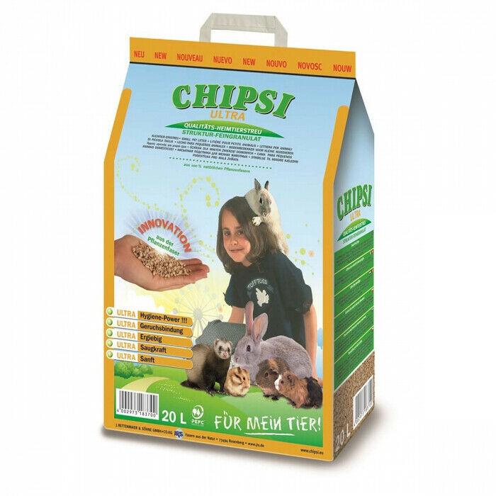 CHIPSI Ultra Bedding Softwood Granules Animal Litter 20L. (SN:B02Z2028) (27