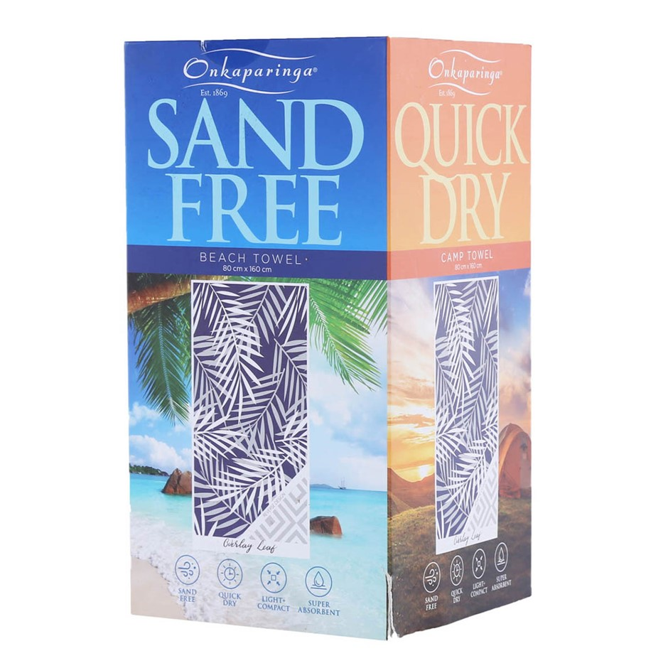 ONKAPARINGA Beach Towel, 80cm x 160cm, Blue/White Leaf. (SN:CC68741) (27840
