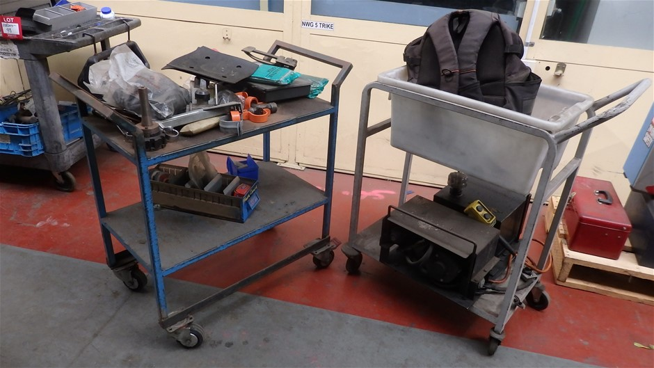 2x Assorted Steel Trolleys and Hydraulic Power Pack