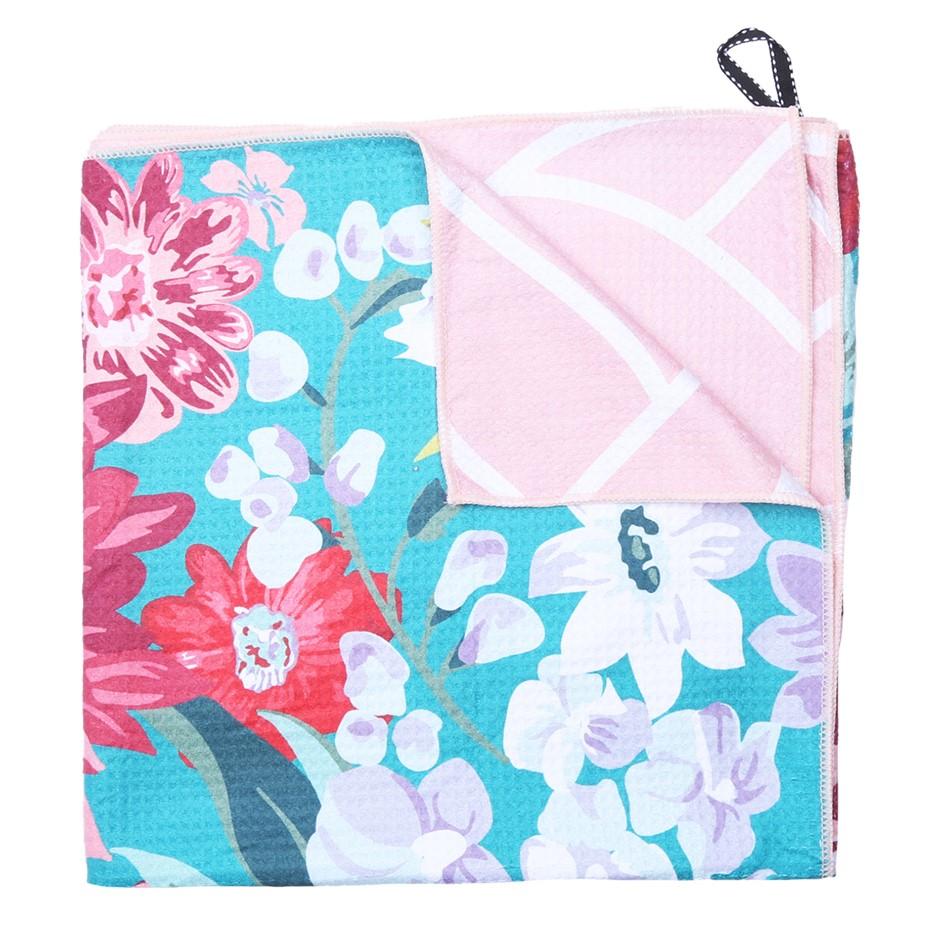 ONKAPARINGA 4-in-1 Sand Free Beach Towel, 80cm x 160cm, Pink/Green Floral.