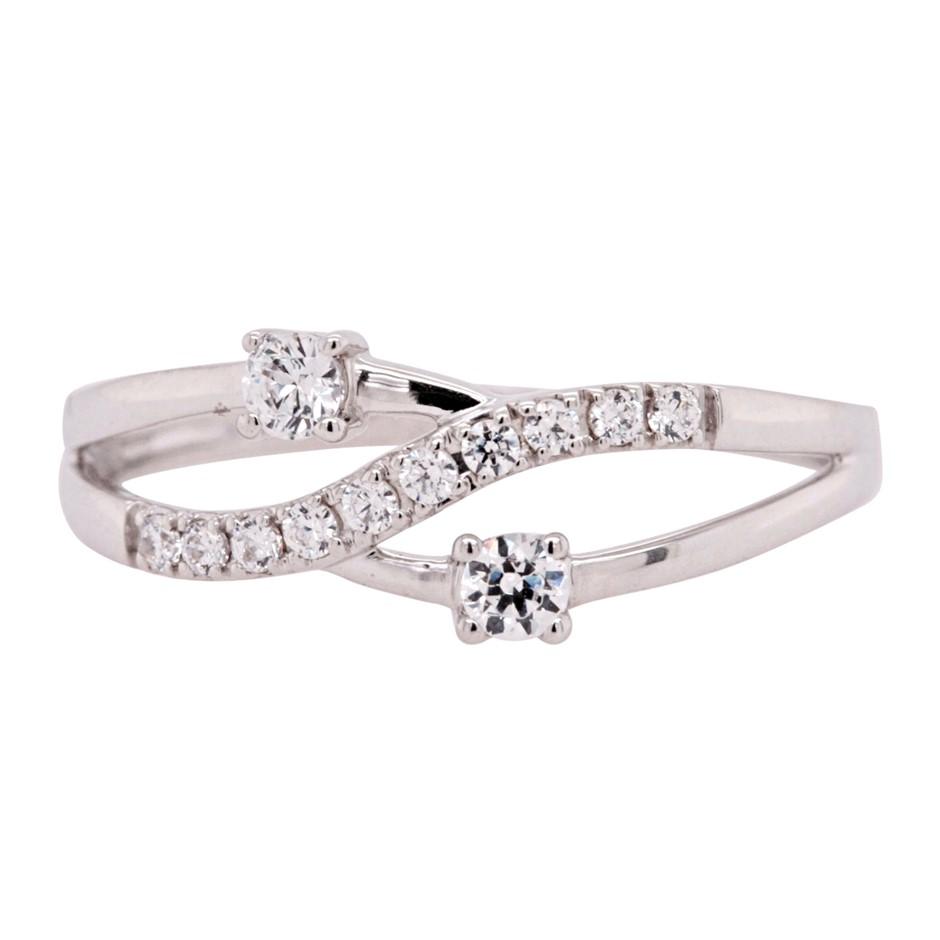 Sterling Silver White CZ Fancy Dress Ring.