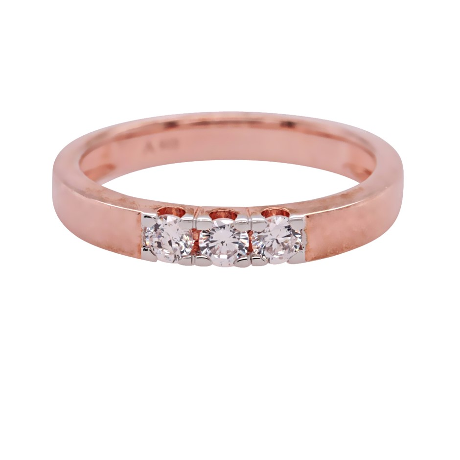 Rose Gold Plated & Sterling Silver White CZ Dress Ring.
