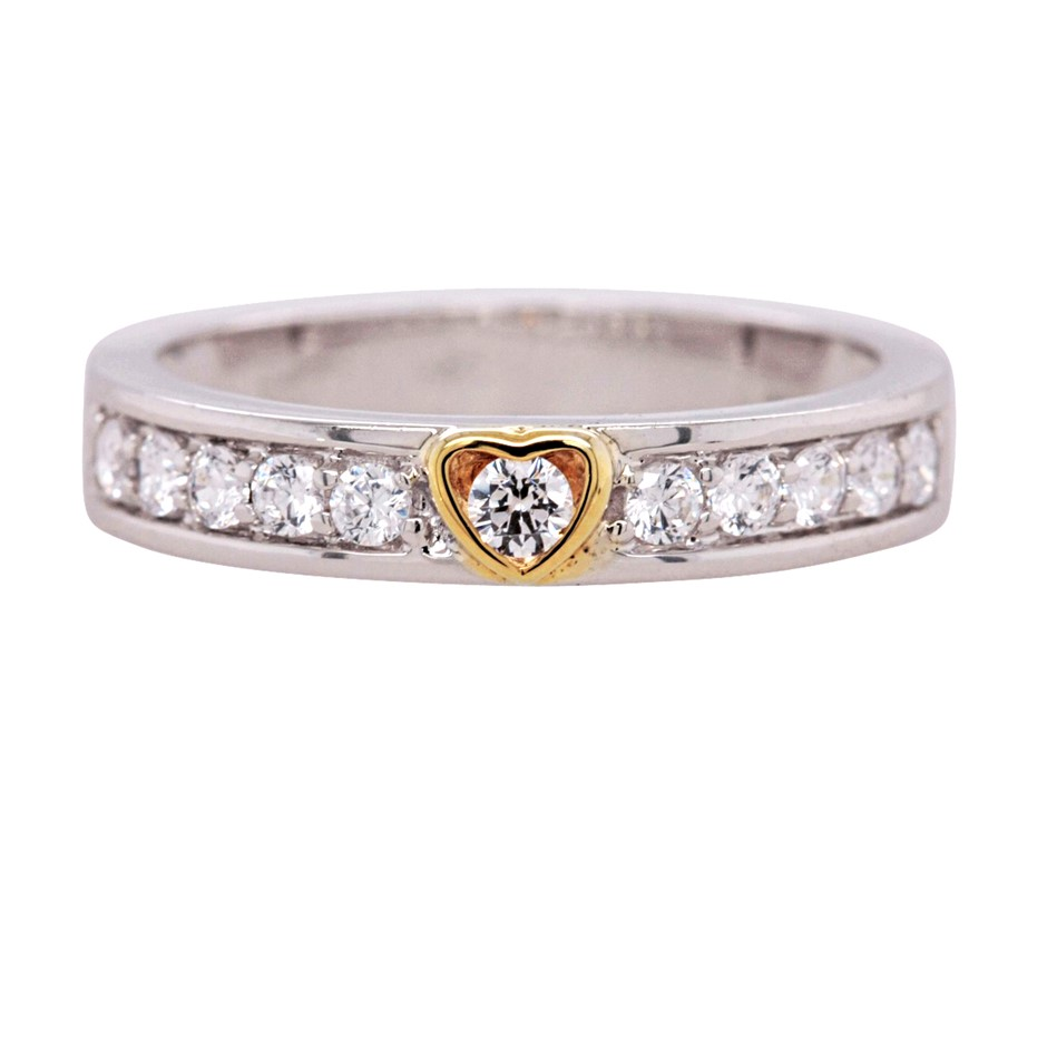 Yellow Gold Plated & Sterling Silver White CZ Heart Ring.