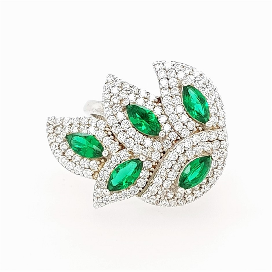 Sterling Silver Green & White CZ Abstract Leaf Ring.