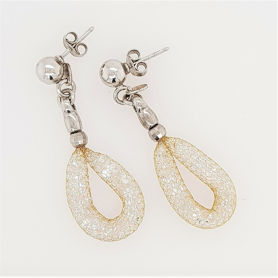 Sterling Silver Gold Tone Mesh & Crystal Earrings.