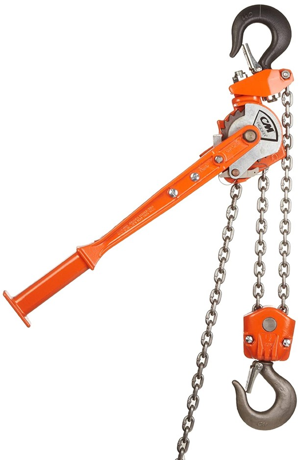 Pallet of Assorted Lifting Chain Slings & CM Rigger Chain Hoist