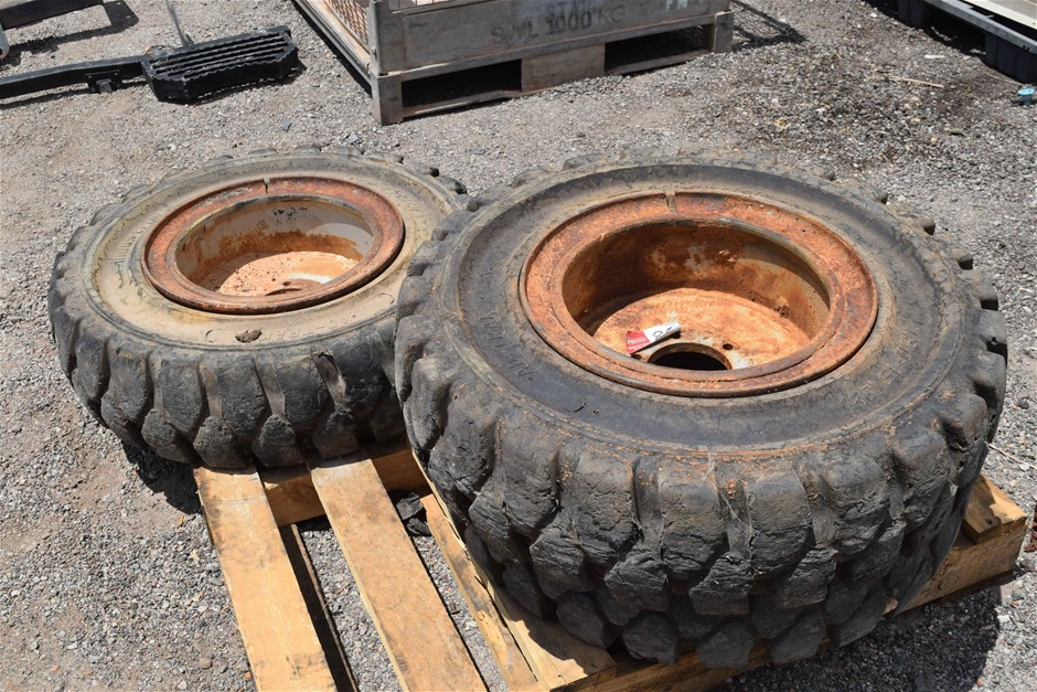"""Lot of 3 Ad-Trak Industrial"""" Solid Forklift Tyres and Rims"""