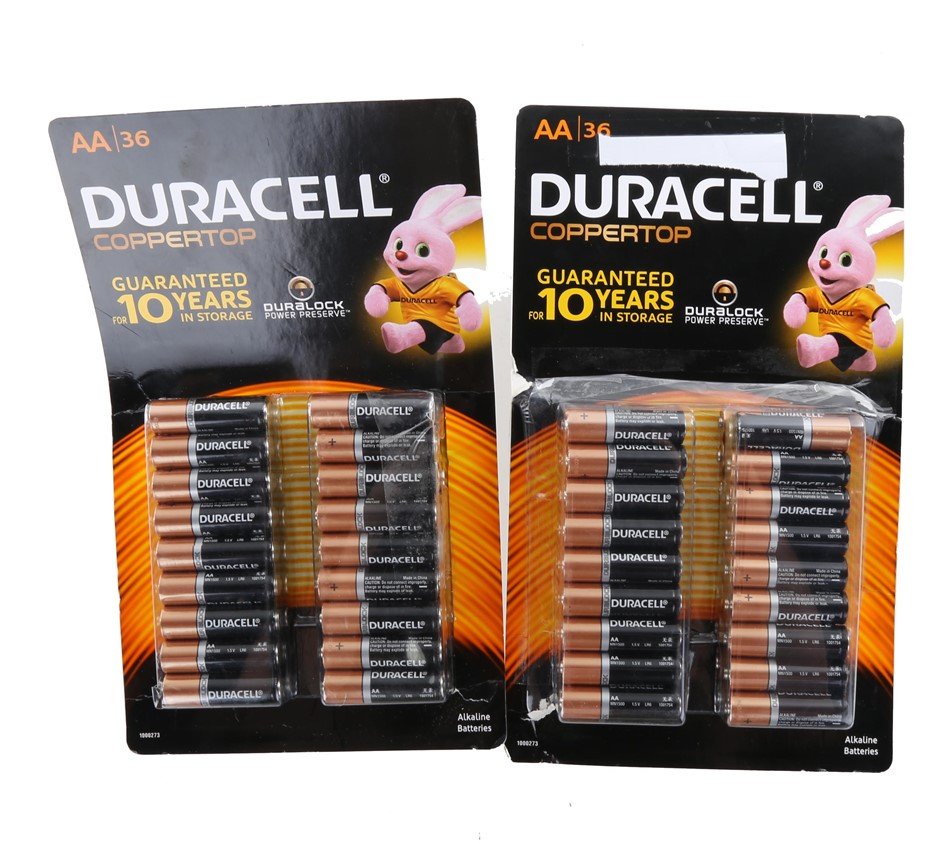 2 x Packs of 36 DURACELL AA Batteries. N.B. Damage package. Buyers Note - D