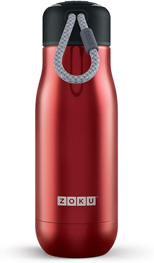 ZOKU Double Walled Vacuum Insulated Steel Flask Bottle, Color Red, 500ml Ca