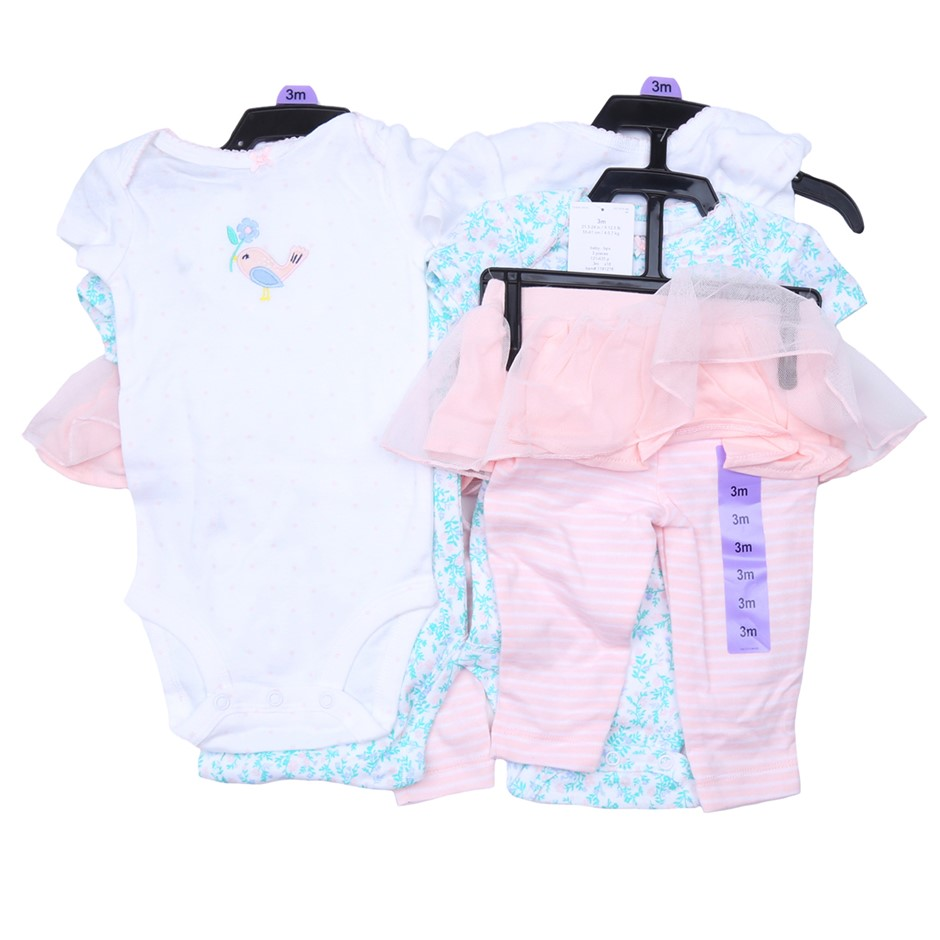 2 x CARTER`S 3pc Baby Girl`s Clothing Set, Comprising; 2 x One-Piece & 1 x