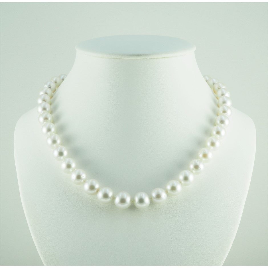 14ct White Gold, 9.9 - 12.1 mm Pearl Necklace