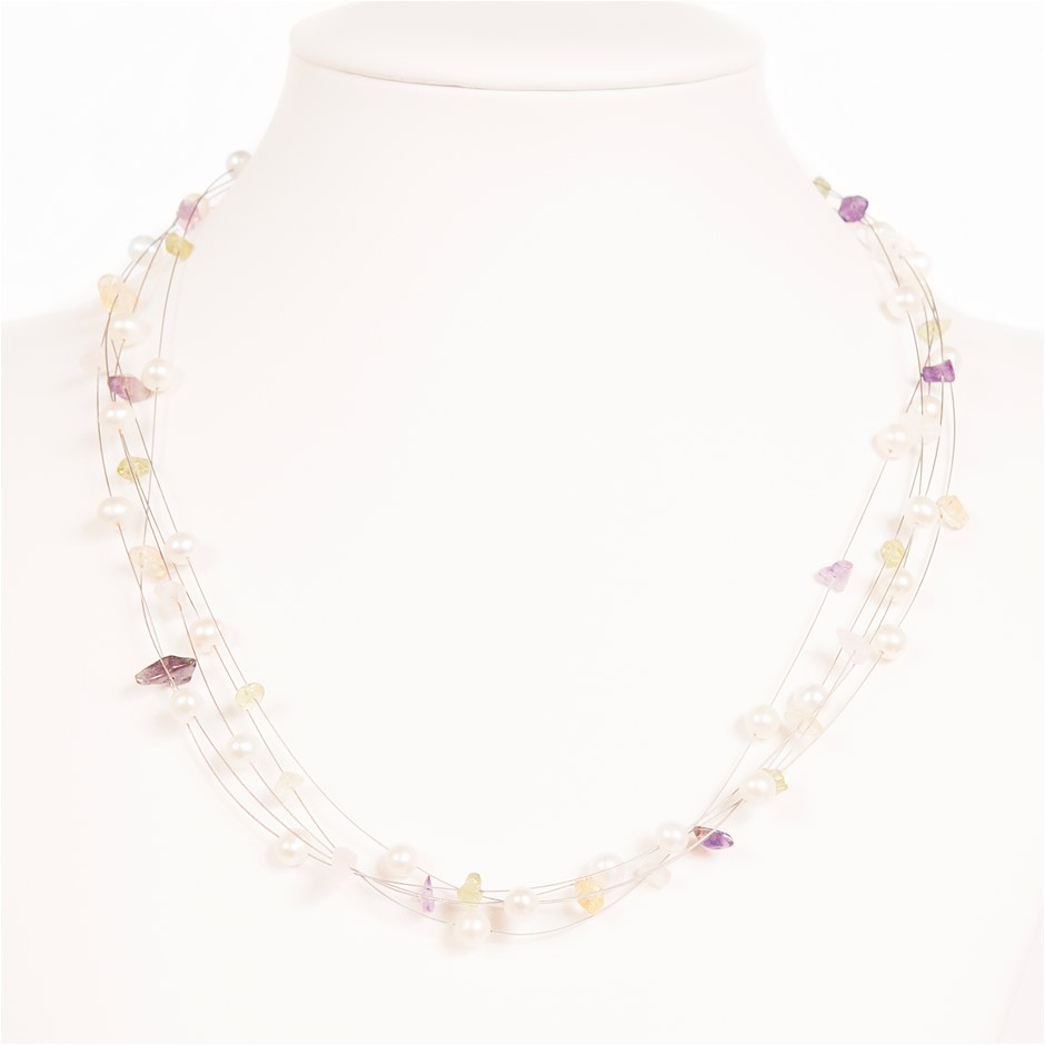 Freshwater Pearl, Amethyst, Rose Quartz, Citrine, Blue Topaz Necklace