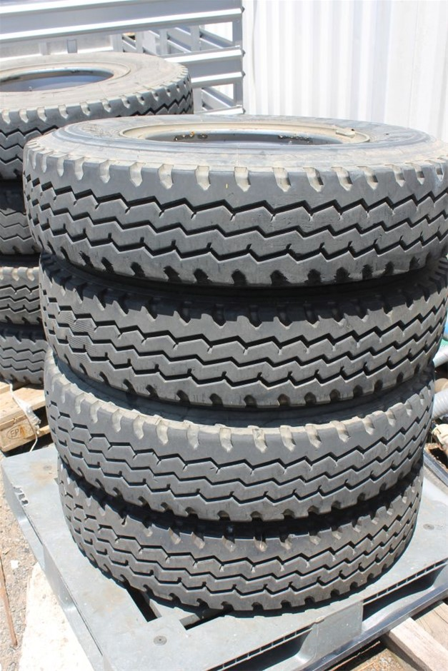 4 x Truck Tyres with Steel Rims