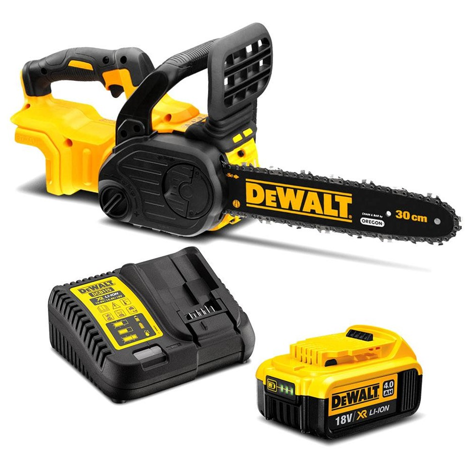 DEWALT 18V 4.0Ah Li-Ion XR Cordless Brushless 300mm (12``) Compact Chainsaw