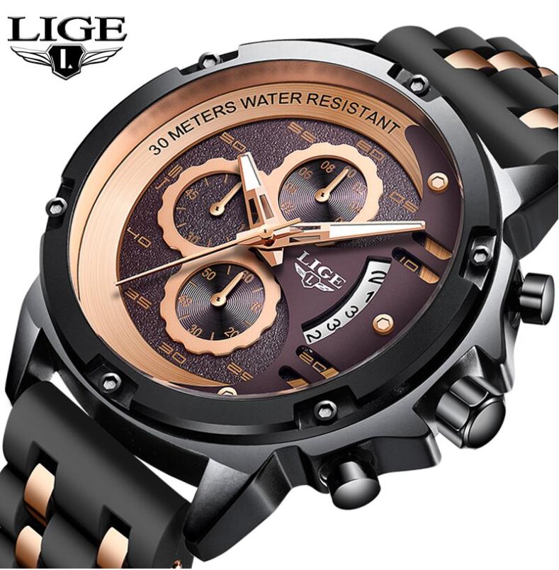 LIGE Men Business & Luxury Quartz Silicone Wrist Watch Lige 9906