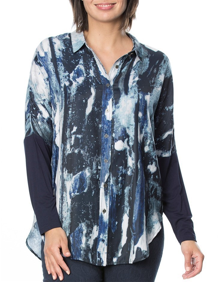 HAMMOCK AND VINE Blue Water Print Shirt. Size 18, Colour: Navy Print. 100%