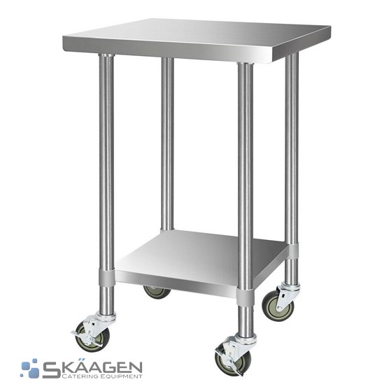 Unused 610mm x 610mm Stainless Steel Bench Including 4 x Casters