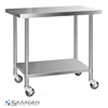 Unused 1524mm x 610mm Stainless Steel Bench Including 4 x Casters