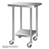 Unused 760mm x 760mm Stainless Steel Bench Including 4 x Casters