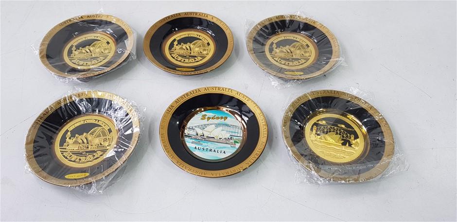 Qty 6 x Sydney Australia Gold Plated Gift Plates