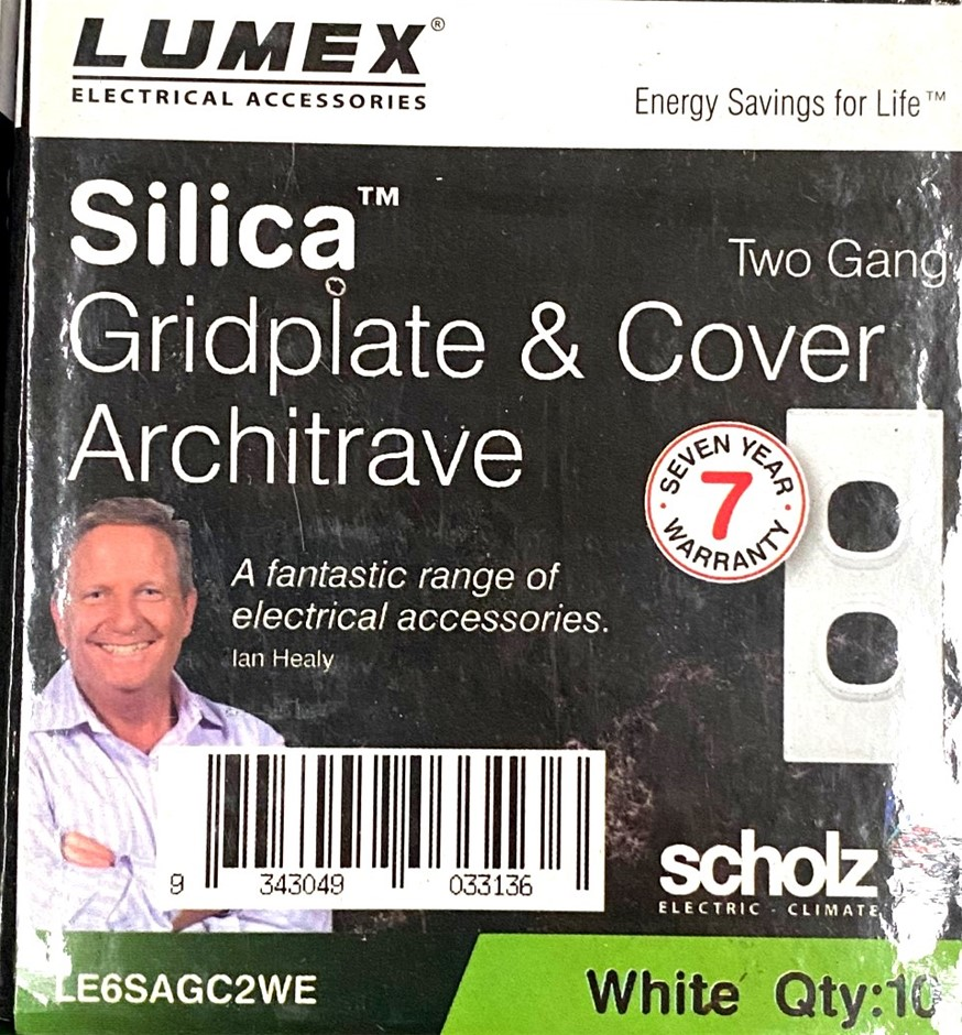 Qty 10 x Lumex Silica Gridplate and Cover Architrave Two Gang (Glass look)