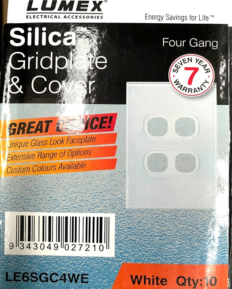 Qty 10 x Lumex Silica Gridplate and Cover Four Gang (Glass look)