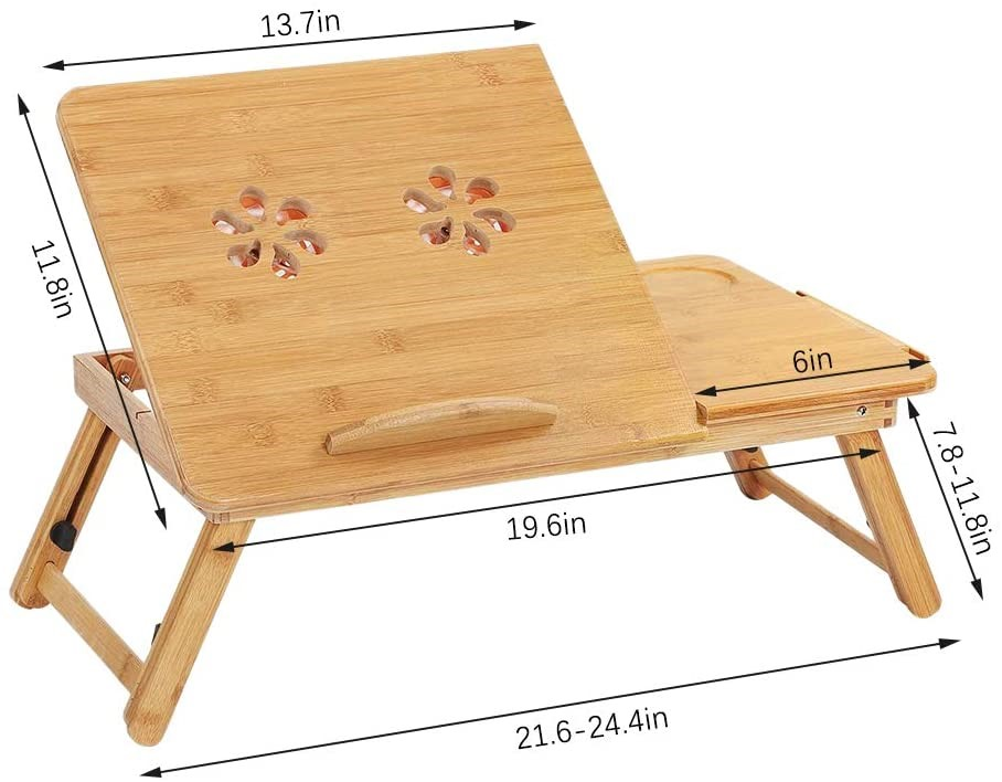 Deluxe Bamboo Fold Up Laptop Side Table with Cup Holder