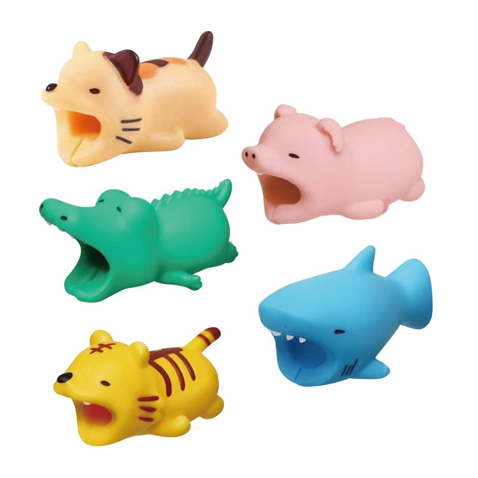 5Pcs Animal Collection Silicon Cable Protector Pack