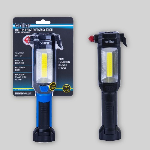 Multipurpose Emergency Torch with COB LED Technology - Blue