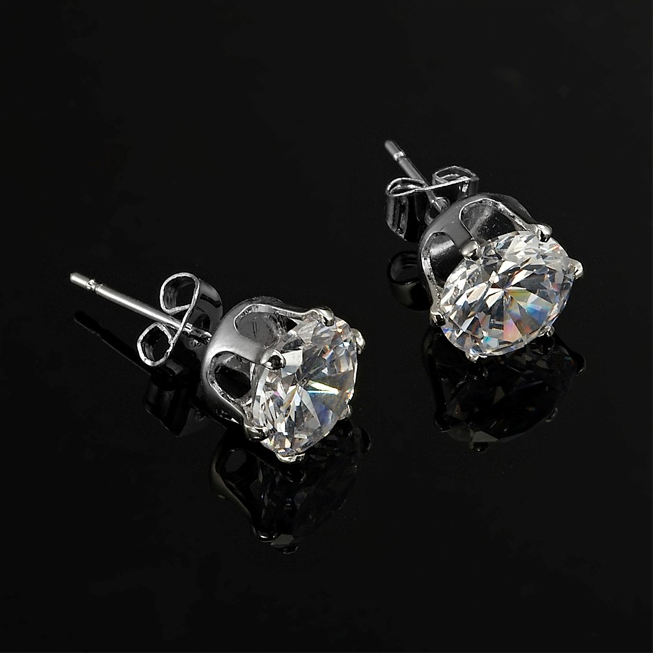 Solid 925 Sterling Silver 3mm Stud Earrings - 2 Crystals by Swarovski®