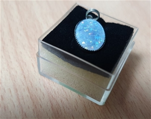 Small Opal Stone Set in Sterling Silver
