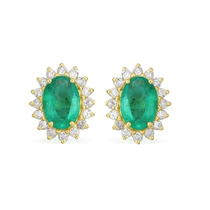 9ct Yellow Gold, 1.54ct Emerald and Diam