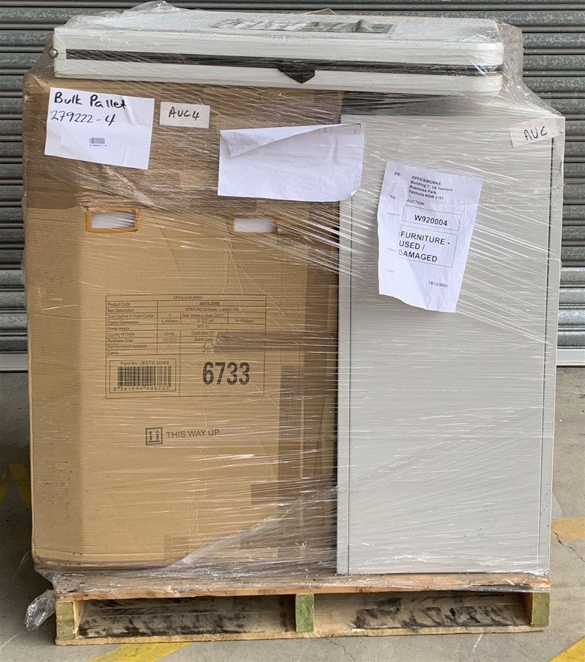 Pallet of Assorted Office Equipment, Filing Cabinet, Pedestal