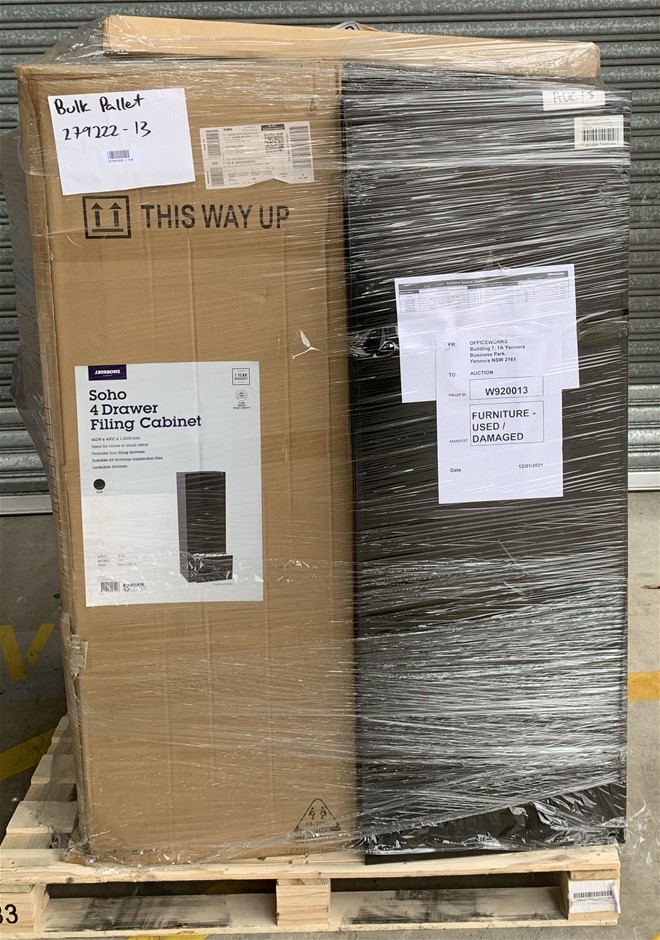 Pallet of Assorted Office Equipment, Filing Cabinet, Desk Screen Guard