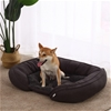 Charlie's Pet Faux Fur Bed with Padded Bolster Grey 91*68.5*20cm