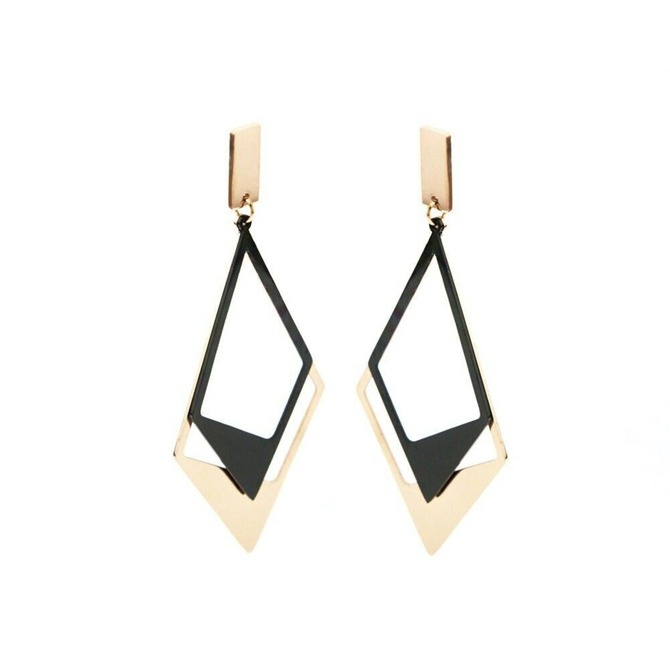New 18K Rose Gold filled Trapezoid Shaped Fashion Dangle Stud Earrings