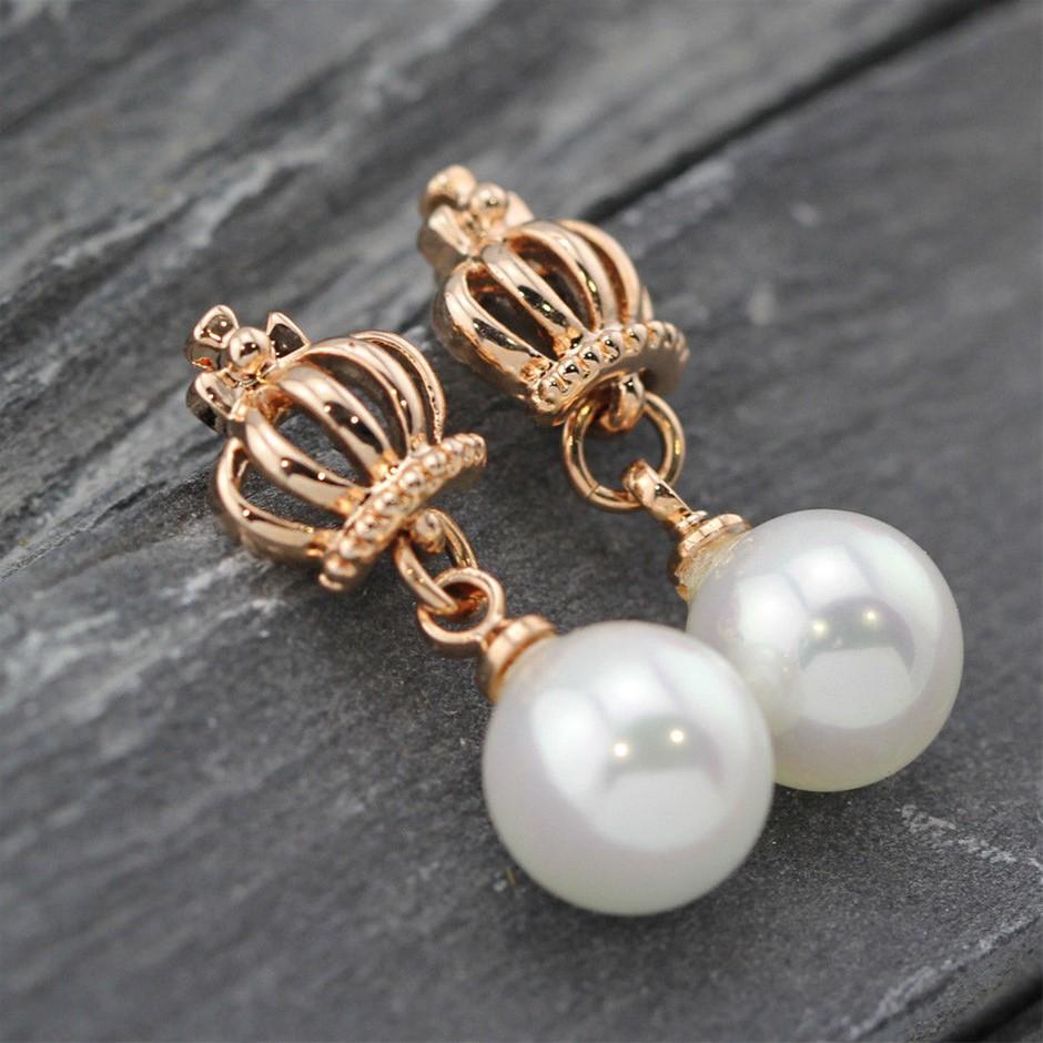 Elegant 18K Rose GOLD Filled Simulated Pearl Crown Stud Earrings