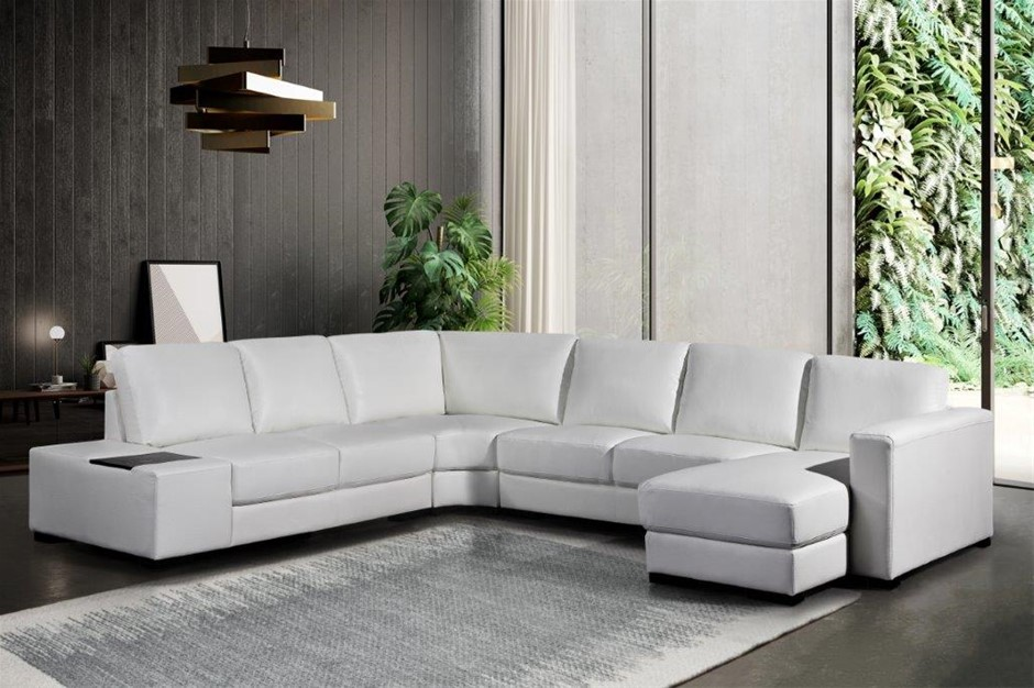 Lounge Set 6 Seater Bonded Leather Corner Sofa Couch in White with Chaise