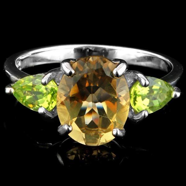 Stunning Sterling Silver Citrine & Peridot Ring