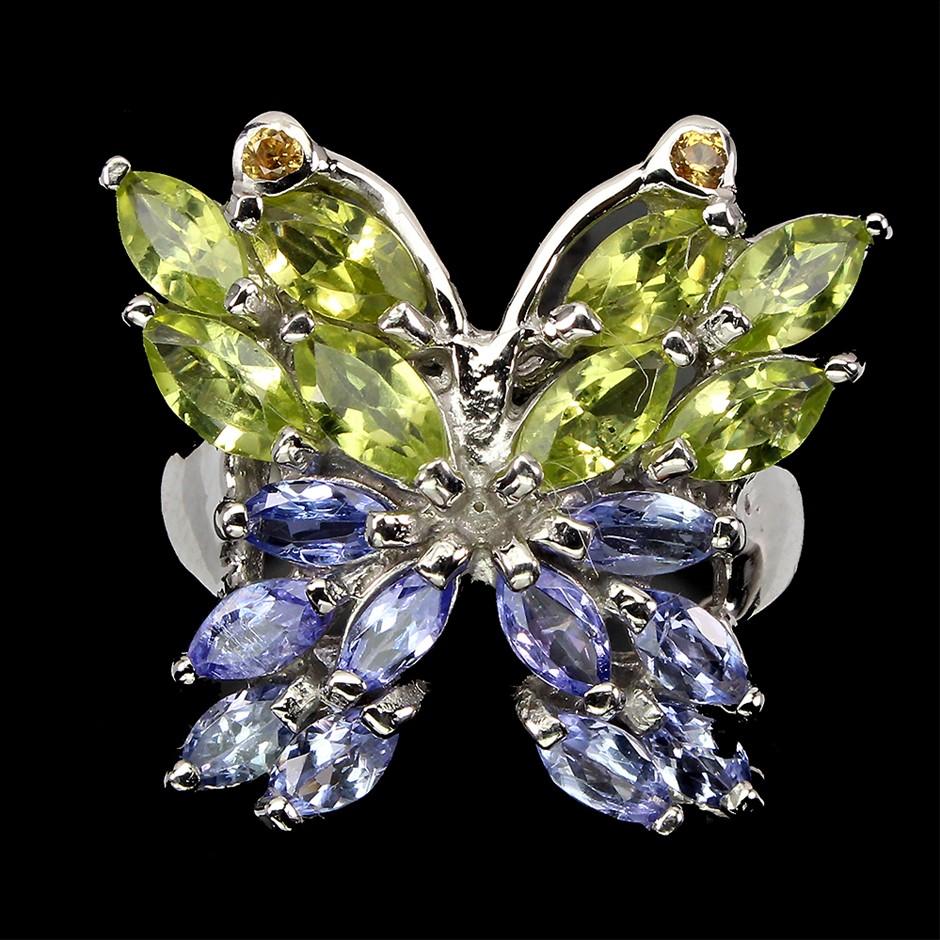 Striking Genuine Peridot & Tanzanite Butterfly Ring.