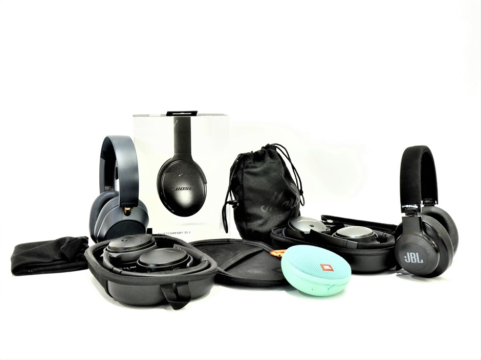 Bundle of Used & Untested Headphones and Portable Speaker